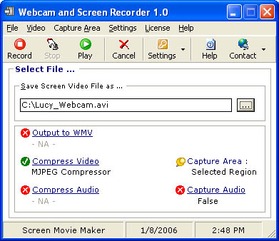 Records webcams, full screen or part of the screen to a video (AVI or WMV)