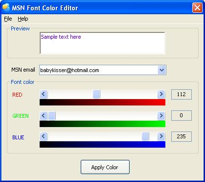 Click to view MSN Font Color Editor 3.000 screenshot