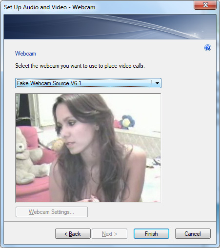 MSN Webcam: 3 - Select 'Fake Webcam Source V6.1' from drop down list and click 'Finish'.You must restart MSN messenger for settings to take effect.