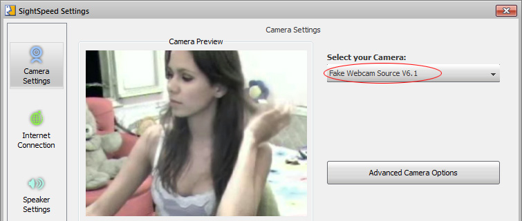 Sightspeed Webcam: 2 - Just select 'Fake Webcam Source' from dropdown list and its done!.